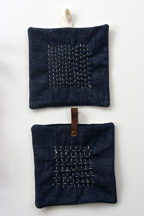 Sashiko and Denim Potholder Tutorial by Jen Hewett