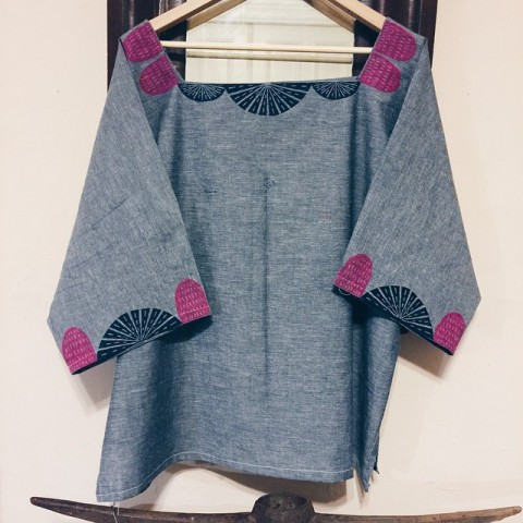 Blouse make with block printed fabric by Meighan O'Toole