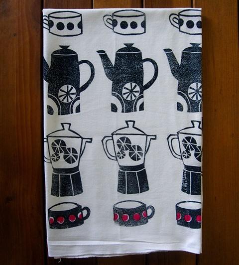 Block Printed Tea Towel by Yuko Miki