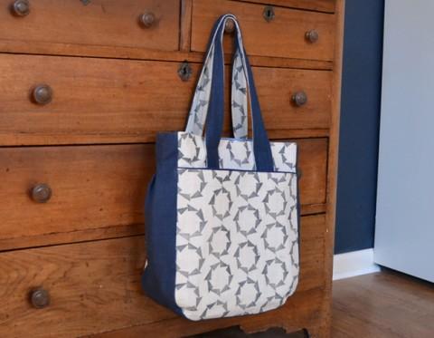 Block Printed Tote Bag by Liz Weaver