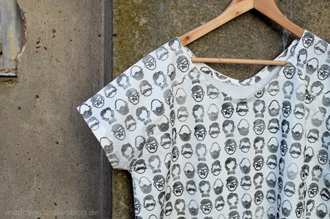 Shirt made of block printed fabric by Barbara Rehbehn