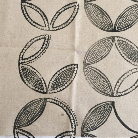 Block printed fabric by Liz Sofield