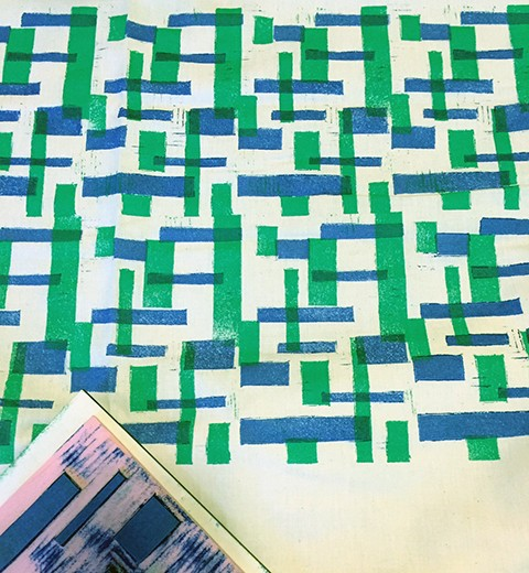 Two-color block printed fabric by Maggie Moore