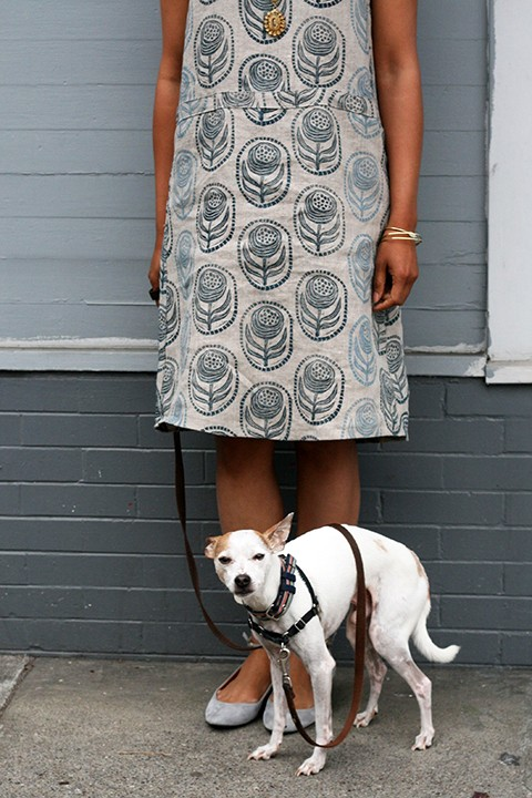 Print, Pattern, Sew: May 2015 by Jen Hewett. Block printed fabric and dress pattern by the artist.