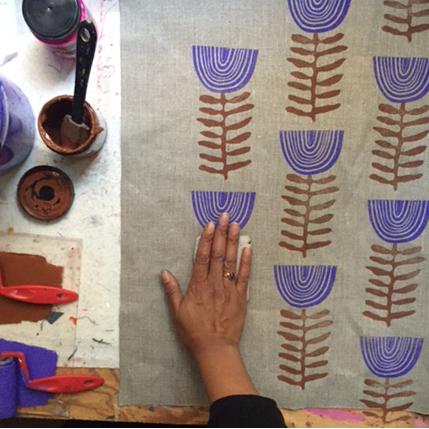 Block printed linen by Jen Hewett