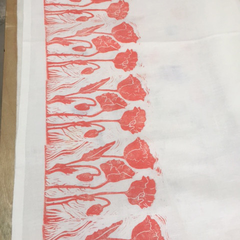Gretchen's print from Jen Hewett's Block Printing on Fabric class